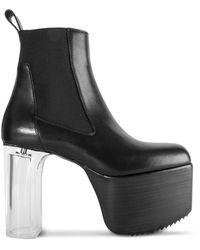 Rick Owens Transparent Heel Platform Kiss Boots - Black