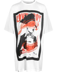 CHARLES JEFFREY LOVERBOY White Wink Longline T-shirt