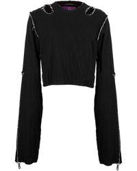 Y's Yohji Yamamoto Cut Out Detail Long Sleeved Top - Black