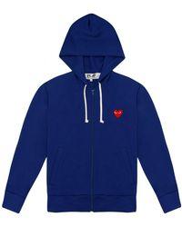Comme des Garçons | Play Womens Red Heart Zip Hoodie Blue | Lyst