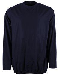 Jil Sander Reverse Button Up Shirt In Navy - Blue