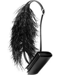 Marques'Almeida Feather Detail Belt Bag - Black