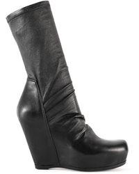 Rick Owens Sock Wedge Boots Black