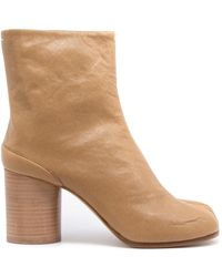 Maison Margiela Tabi Soft Leather Heeled Boots Beige - Natural