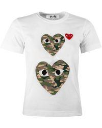 COMME DES GARÇONS PLAY T245 Double Camouflage Heart T-shirt White