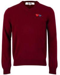 COMME DES GARÇONS PLAY N056 Two Heart Logo Jumper Burgundy - Red