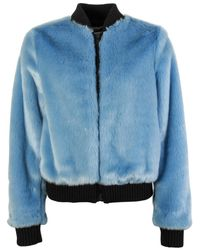 MSGM Faux Fur Bomber Jacket - Blue