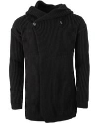 Rick Owens Fisherman Hooded Cardigan - Black