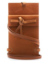 Jil Sander Ribbon Leather Phone Pouch Tan - Brown
