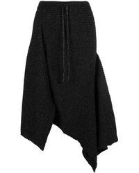 Marques'Almeida Merino Wool Asymmetric Draped Skirt - Black