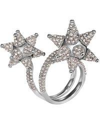 Swarovski Kalix Double Silver Crystal Ring - Metallic