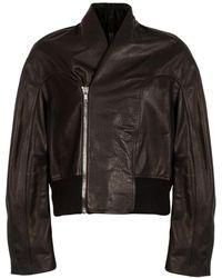 Rick Owens Leather Tec Bomber Jacket - Black