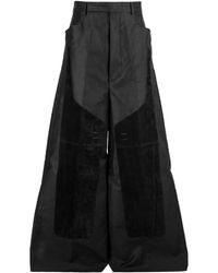 Rick Owens Larry Oversized Wide Leg Pants - Black