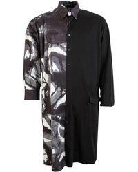 Yohji Yamamoto Contrast Printed Shirt Dress - Black