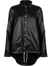 Rick Owens Drkshdw Vdb Faux Leather Snap Shirt - Black