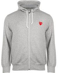 COMME DES GARÇONS PLAY T168 Red Heart Hoody Grey