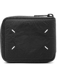 Maison Margiela Crinkle Effect Zip-around Wallet Black