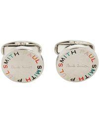 Paul Smith Multicolored Font Logo Print Cufflinks - White