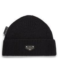 Philipp Plein Wool Hat Iconic Plein - Black
