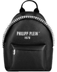 Philipp Plein Leather Backpack Decorated With Studs - Black