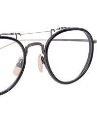 Thom Browne And Gold Oval Optical Glasses - Black