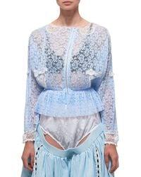 Jenny Fax Lace Blouse - Blue