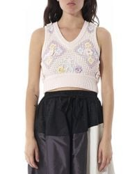 Mikio Sakabe - Crochet Detail Cropped Top - Lyst