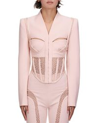 Dion Lee Suspended Lace Bustier Jacket - Pink