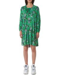Jenny Fax Skirt-back Dress - Green