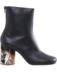 Maison Margiela Crushed Heel Leather Boots - Black