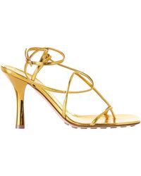Bottega Veneta Leather Bv Line Sandals 90 - Metallic