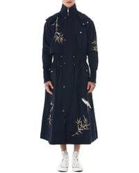 Angel Chen Crane Embroidered Windbreaker Coat - Blue