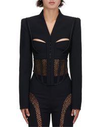Dion Lee Suspended Lace Bustier Jacket - Black