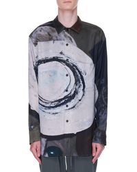 Song For The Mute Long Sleeve Oversized Shirt - Blue