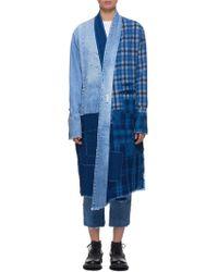 Greg Lauren Patchwork Kimono Robe - Blue