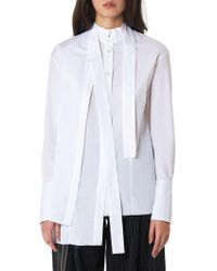 Alessandra Marchi Asymmetric Stole Shirt - White
