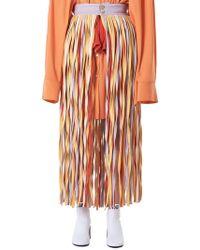 Jenny Fax Long Fringed Multicolor Skirt