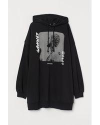 H&M Oversized Capuchonsweater - Zwart