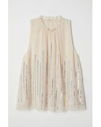 H&M Blouse With Sequins - Natural