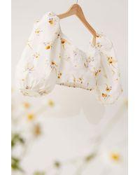 H&M Cropped Linen-blend Blouse - White