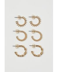 H&M - 3 Pairs Hoop Earrings - Lyst