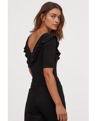 H&M Flounced V-neck Bodysuit - Black