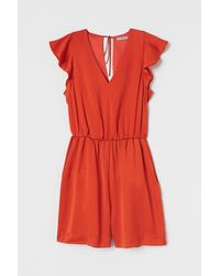 H&M Flutter-sleeved Romper - Orange