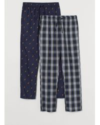 H&M 2er-Pack Baumwoll-Pyjamahosen - Blau