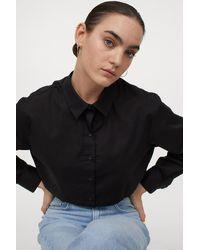 H&M Cotton Crop Shirt - Black