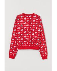 H&M Printed Sweatshirt - Red
