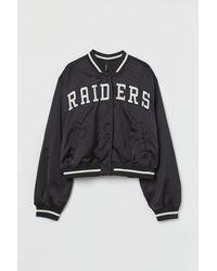 H&M Embroidered Baseball Jacket - Black