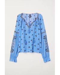 H&M - Embroidered Blouse - Lyst