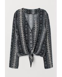 H&M - Tie-front V-neck Blouse - Lyst