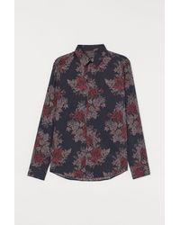 H&M Chemise à motif Slim Fit - Noir